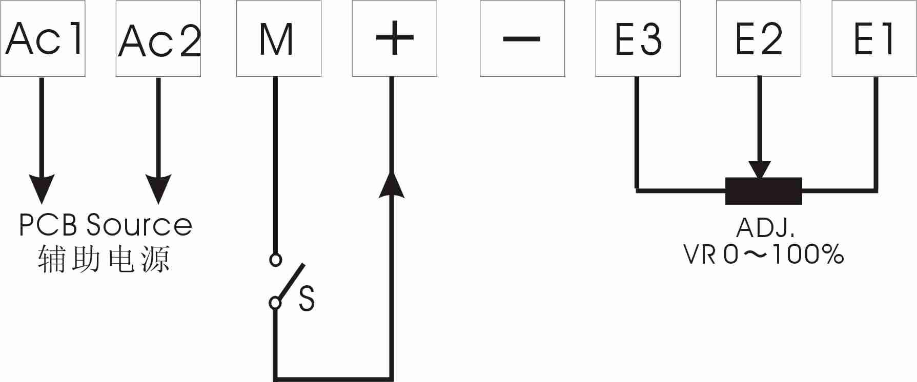 直流电流4-20ma输入的同时可以通过电位器adj调节
