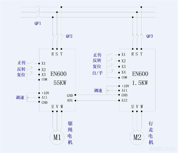 易能en600系列变频器,绳锯机上的应用