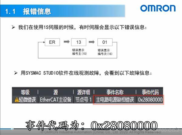 欧姆龙,产品,控制器,电机故障,伺服上电缺相报错