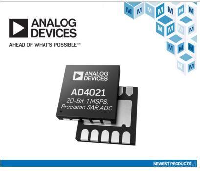 贸泽开售Analog Devices低功耗AD4021和AD4022差分SAR ADC