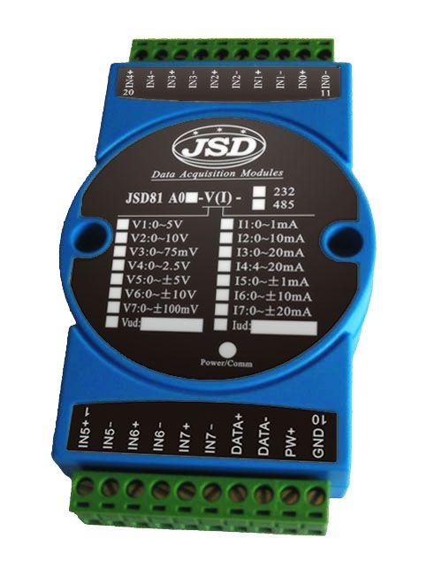 八路电压信号转RS232/RS485数据采集模块