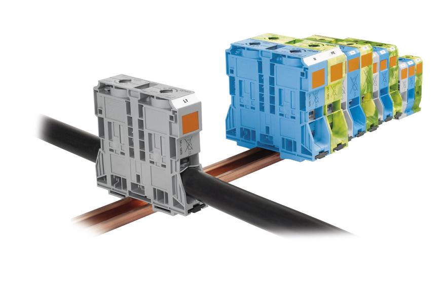 WAGO推出了全球首个适于连接最大185 mm2导线的无螺丝大电流接线端子。