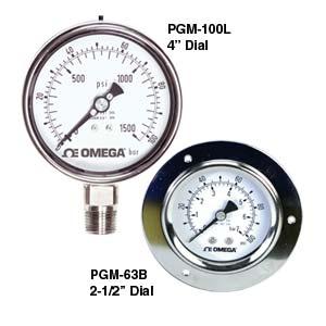 OMEGA不锈钢工业压力计可填充液体