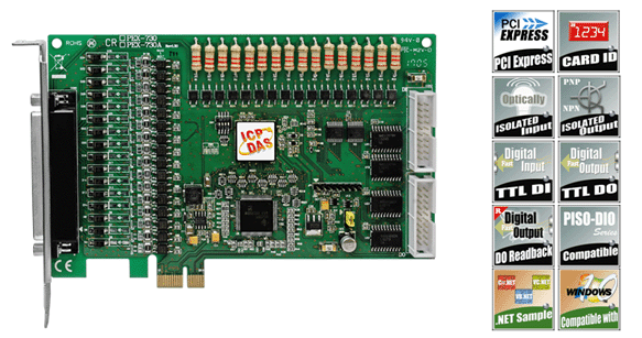 ICPDAS-泓格 PEX-730A PCI Express, 32通道隔离数字输出入, 32通道(TTL)数字输出入板卡 (Current Sourcing, PNP)