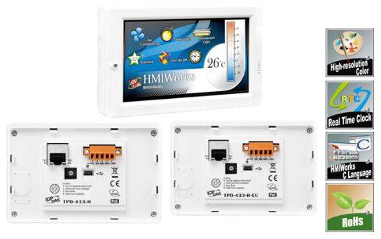 TPD-433-H/TPD-433-H-EU 4.3 寸触控人机界面装置,支持RS-485 、实时时钟(RTC) 、以太网络(PoE)及USB (RoHS)