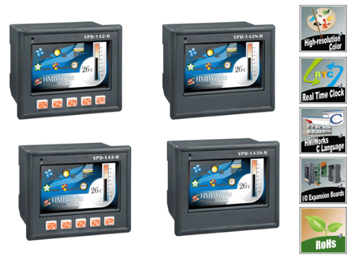 VPD-142-H/142N-H/143-H/143N-H  4.3 寸触控人机界面装置,支持RS-232/RS-485 、实时时钟(RTC)、USB及XV I/O 扩充卡 (RoHS)