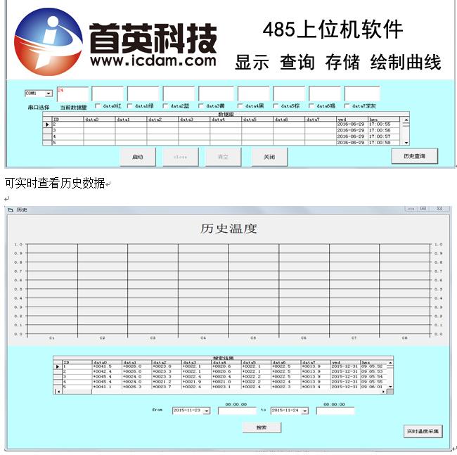 学生实验温度采集系统MCGS PLC 组态王成套软件485上位机定制软件