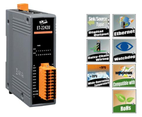 泓格科技 ET-2242U 网络型I/O模块具2口以太网交换机及16个Sink/Source-type数字输出通道
