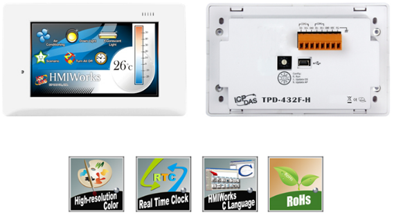 "TPD-432F-H 4.3"" 触控人机界面装置,支持RS-485、USB和实时时钟 (RTC) (RoHS)"