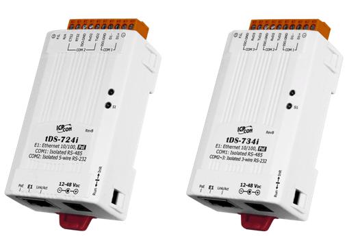 泓格科技新产品上市: tDS-724i/tDS-734i 1 口隔离型 RS-485与1至2 口RS-232及 PoE 供电的微型设备服务器