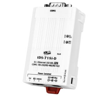 新產品上市: tDS-718i-D 1 口RS-232/422/485、Power 隔離及PoE供電的微型設備服務器