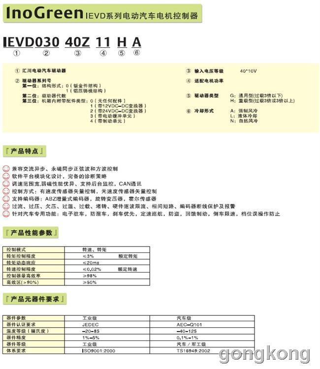 汇川 InoGreen IEVD系列电动汽车驱动器