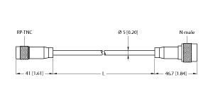 T-UHF-CBL-RG58-RPTNC-4-N-M