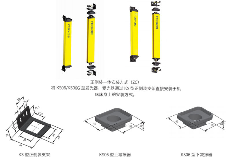 KS06安全光幕正侧装一体安装方式