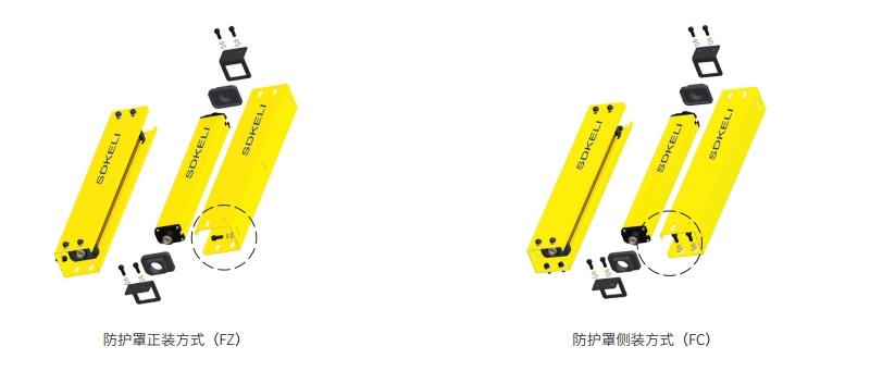 KS06安全光幕防护罩正装方式和防护罩侧装安装方式