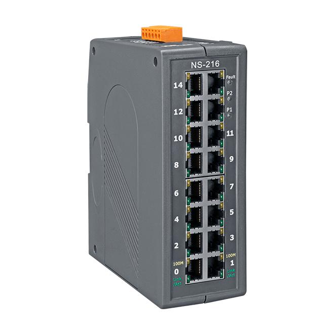 泓格16口非管理型工業以太網絡交換器NS-216