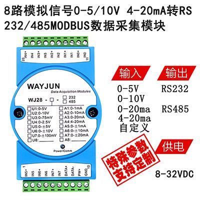 0-20ma转rs485 4-20ma转rs232 modbus数据采集模块